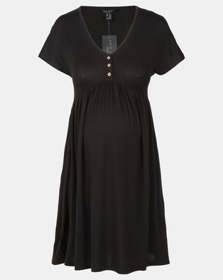 New Look Maternity Button Front Nursing Smock Dress Black