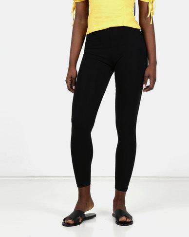 New Look 2 Pack Black Cotton Blend Leggings
