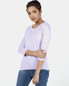 New Look 3/4 Sleeve Fine Knit Top Lilac