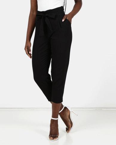 New Look Tie Paperbag Waist Trousers Black