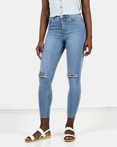 New Look 'Lift & Shape' Ripped Skinny Jeans Light Blue