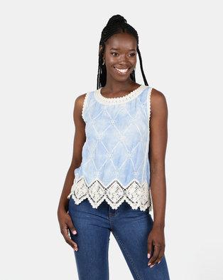 New Look Tie Dye Crochet Sleeveless Top Blue