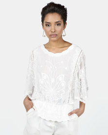 New Look Crochet Mesh Sleeve Peplum Blouse White