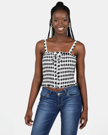 New Look Black Check Lace Up Shirred Cami