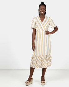 New Look Stripe Tiered Wrap Tie Dress Off White
