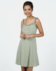New Look Ruffle Strap Mini Dress Khaki