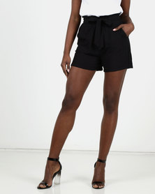 New Look Twill Paperbag Shorts Black