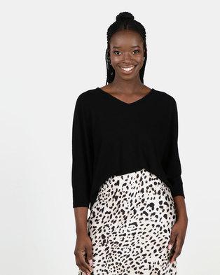 New Look Black V Neck Fine Knit Top