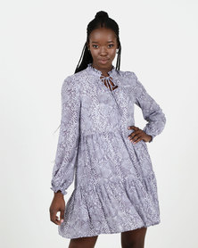 New Look Blue Snake Print Chiffon Tiered Dress