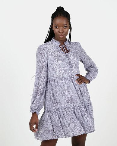 New Look Blue Snake Print Chiffon Tiered Dress