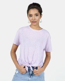 New Look Linen Look Tie Front T-Shirt Lilac