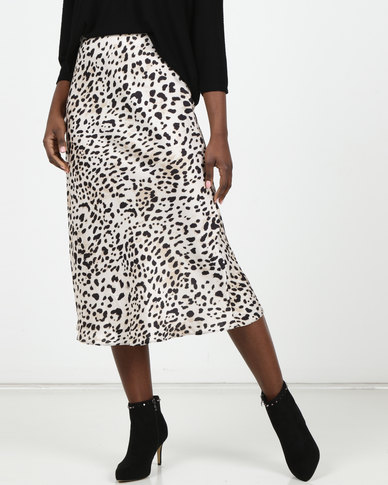 New Look Brown Leopard Print Midi Skirt
