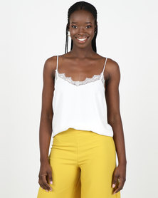 New Look Off White Chiffon Lace Cami