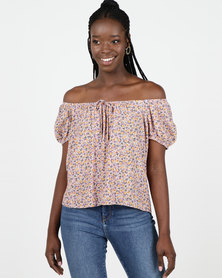 New Look Pink Ditsy Floral Puff Sleeve Top