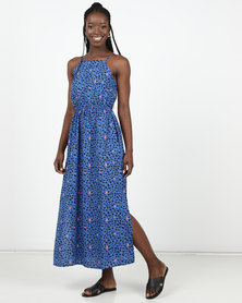 New Look Blue Leopard Print Crochet Front Maxi Dress