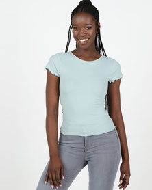 New Look Mint Green Ribbed Cap Sleeve T-Shirt