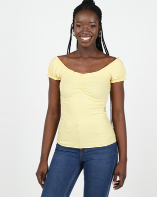 New Look Pale Yellow Frill Edge Ribbed T-Shirt