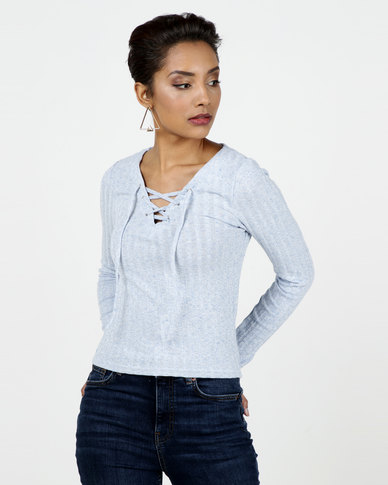New Look Ribbed Lace Up Top Pale Blue