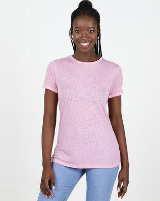 New Look Pink Leopard Burnout T-Shirt