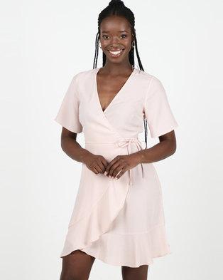 New Look Pink Frill Hem Wrap Mini Dress