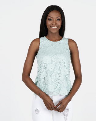 New Look Mint Green Scallop Edge Lace Vest Top