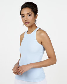 New Look Ribbed Racerback Vest Pale Blue