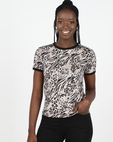 New Look Brown Mixed Animal Print Ringer T-Shirt