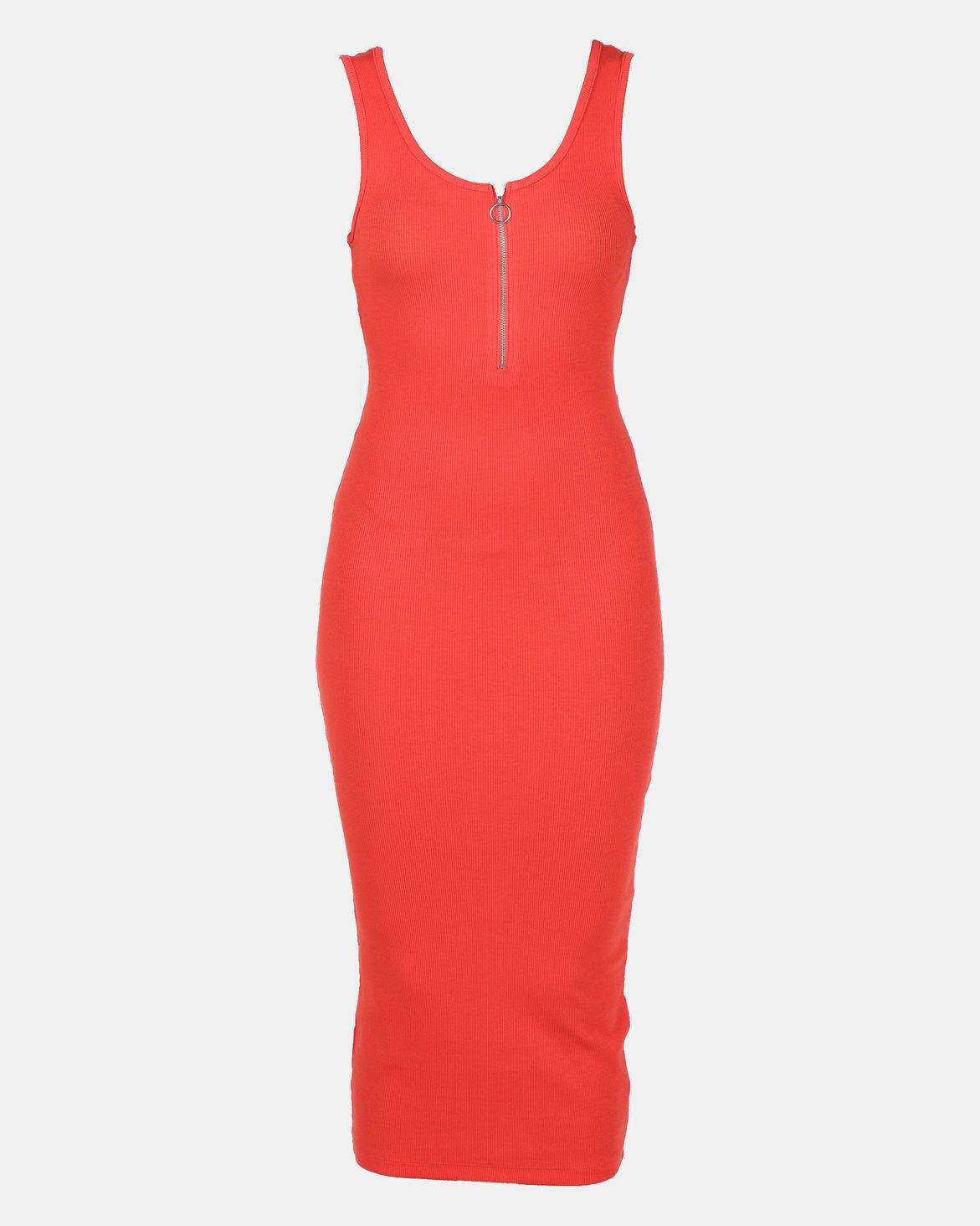 Revenge Zip Front Maxi Dress Navy | Zando