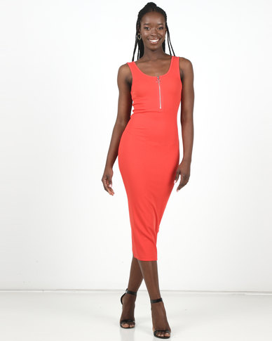 New Look Red Ribbed Zip Front Midi Bodycon Dress