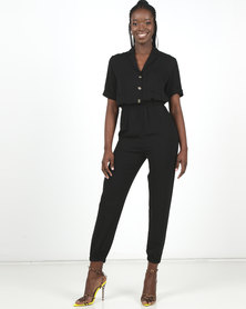 New Look Black Herringbone Cuffed Utility Jumpsuit