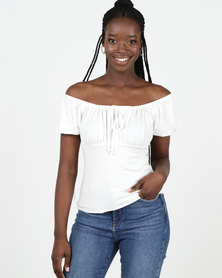 New Look Off White Frill Trim Milkmaid Top