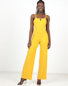 New Look Mustard Notch Neck Cross Strap Jumpsuit