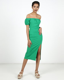 New Look Side Split Elasticated Bardot Midi Dress Green