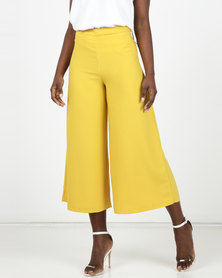 New Look Yellow Wide Leg Crop Trousers