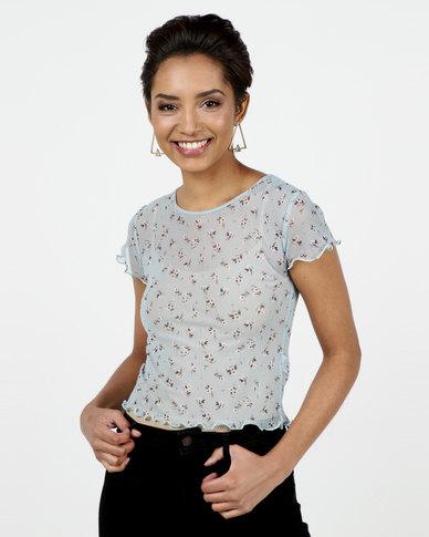 New Look Floral Frill Trim Mesh T-Shirt Blue