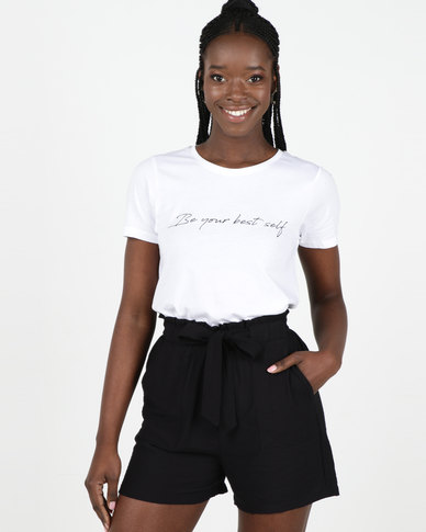 New Look Be Your Best Self Slogan T-Shirt White