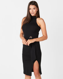 New Look High Neck Buckle Waist Midi Dress Black
