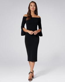 Forever New Daisy Off Shoulder Pointelle Dress Black