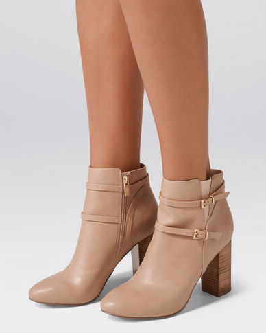 Forever New Alexis Double Buckle Boots Nude