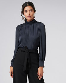 Forever New Kristina High Neck Drape Blouse Navy