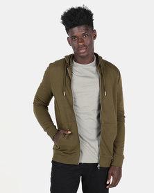New Look Zip Through Hoodie Green