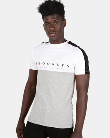 New Look Colour Block Slogan Spray Sleeve T-Shirt Grey Marl
