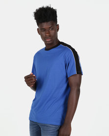 New Look Piped Panel Oversized T-Shirt Blue