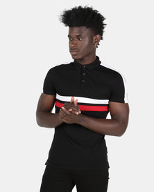 New Look Colour Block Muscle Fit Polo Shirt Black