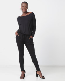 Slick Halston Off Shoulder Styled Jumpsuit Black