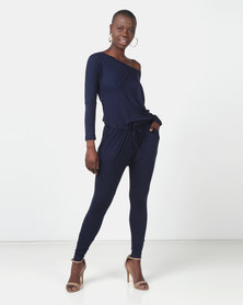 Slick Halston Off Shoulder Styled Jumpsuit Navy