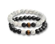Urban Charm Natural Stone Couples Bracelet Set - Black Agate, Howlite & Tiger's Eye