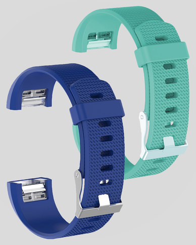 Gretmol Blue & Mint Green Fitbit Charge 2 Sport Silicone Straps Combo