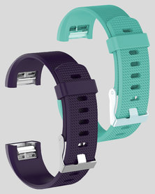 Gretmol Purple & Mint Green Fitbit Charge 2 Sport Silicone Straps Combo