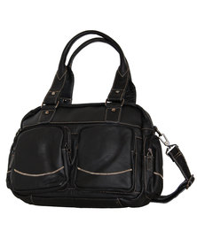 Fino Unisex Genuine Leather Bag with Side Pockets - Black